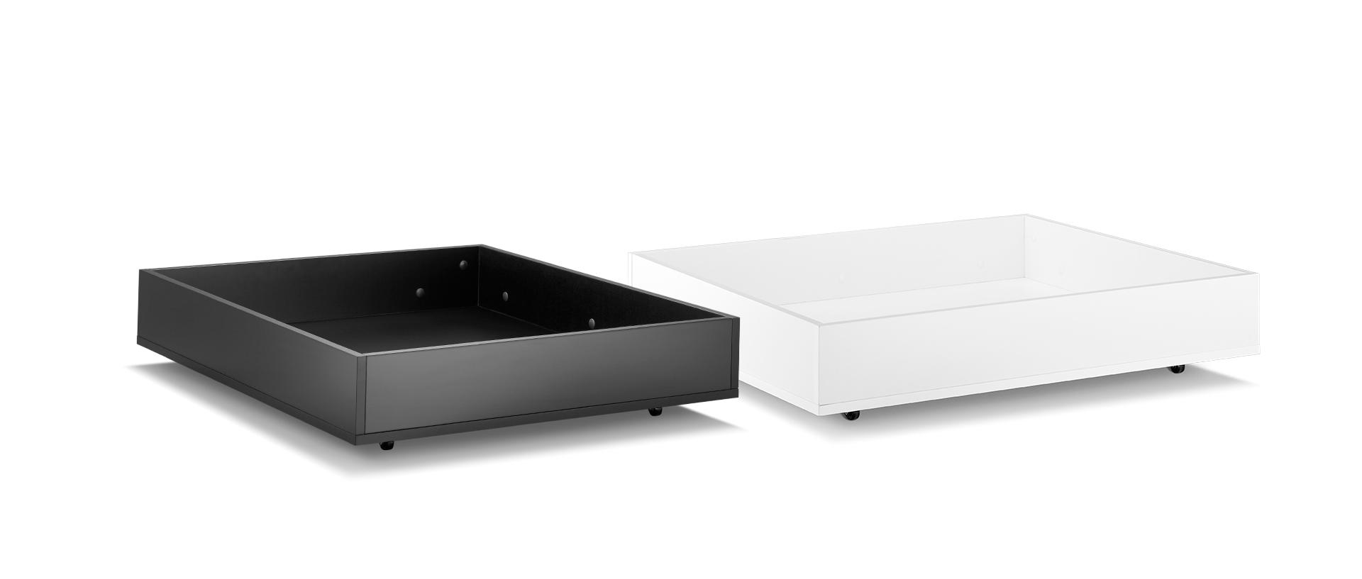 床下配套两色储物盒可选,最大可承重14kg,足以满足日常所需。盒子设有随时可固定的万向轮,按下则静止不滑动,储物更便捷,释放卧室收纳空间。