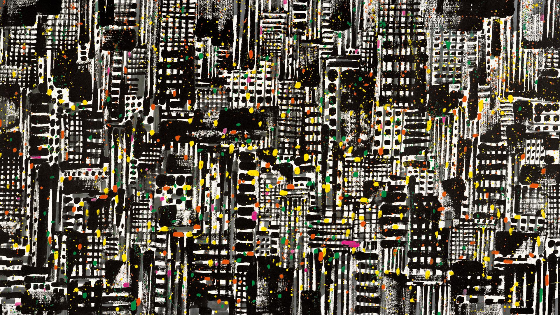 """他师从林风眠,笔名单字""""荼"""";他摇举中国当代水墨之旗大胆革新;晚年的他,单幅画作拍卖价格以亿为单位,却仍选择留在北京郊区的老旧民宅终老……他,吴冠中。  1997年,已近耄耋之年的吴老,受邀用画笔阐述他心中的香港夜景。线条勾勒出天旋地转的海市蜃楼,画面密不透风,透露了吴老所感到的芸芸众生的挣扎苦乐。《都市之夜》,其名由此而来。"""