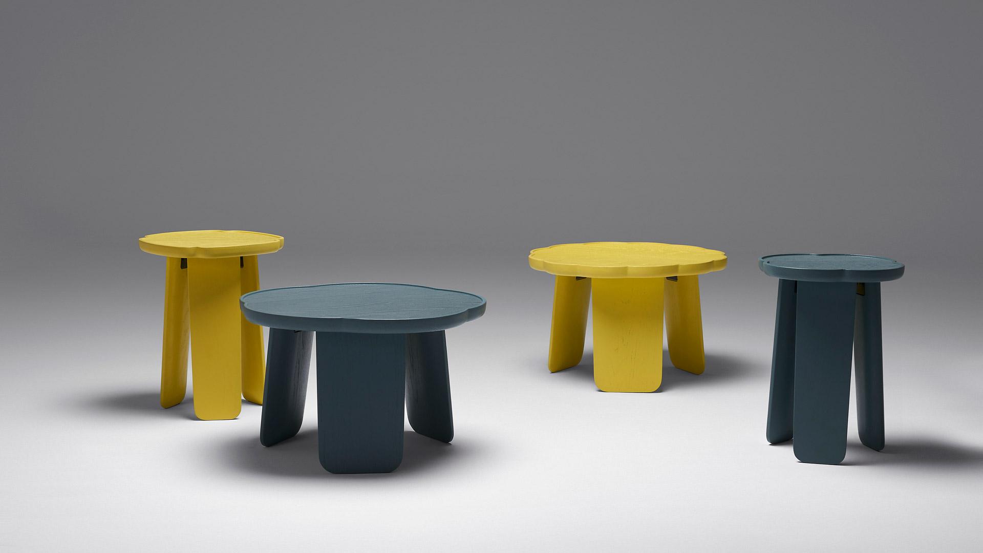 高桌秀丽,矮桌圆雅,花瓣桌面与宽型桌腿的实木演绎,德国设计师在英国描画的现代盛唐,柔美任选,回到家也恣意花间。