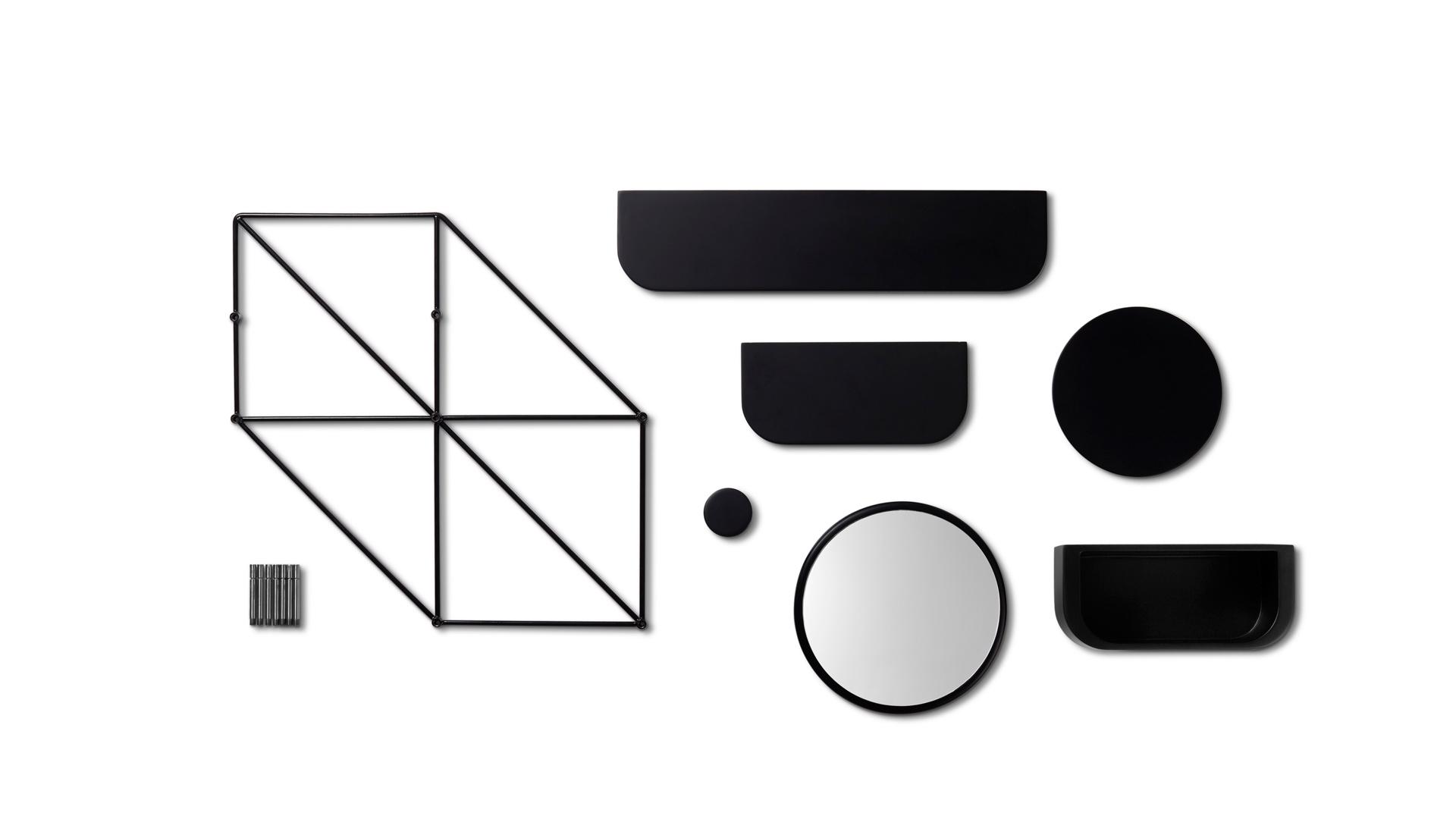1个六边形蜂巢结构框架, 6个可选配件——长板、短板、圆板、衣帽钩、镜子、储物盒——的单元化设计,构成星云墙面置物格调的基本组成要素,百变可能,从这里开始。