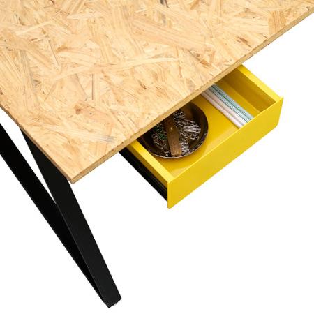 谷黄色隐藏式抽屉,采用厚度仅为2mm的铁板打造,亮丽小巧的储物配件,方便收纳小件办公用品