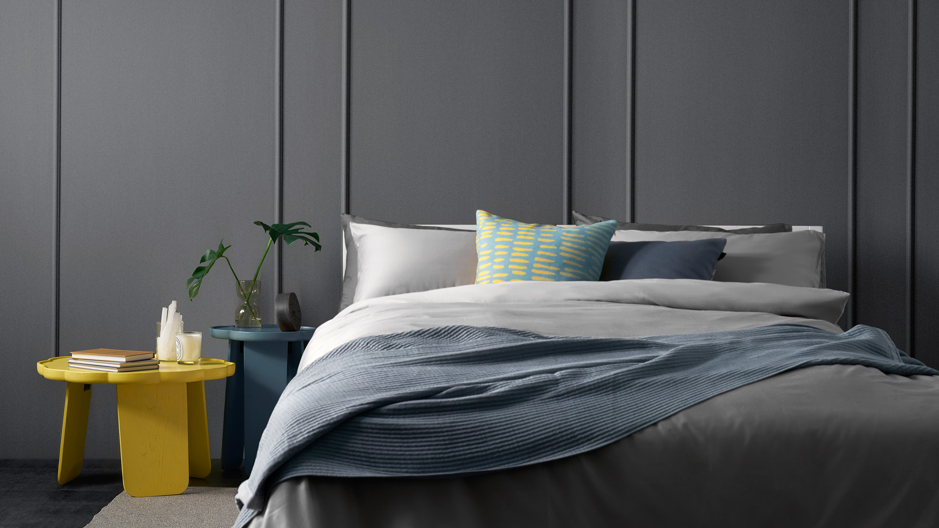 现代卧室的开放性软装搭配,解放你的床头空间吧,高低花间撞色联袂,为卧室熏一层跳跃的甜度。