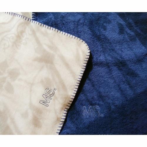MS_Couple毛巾组MR.MS.面巾套装(粉蓝各1条)怎么样_4
