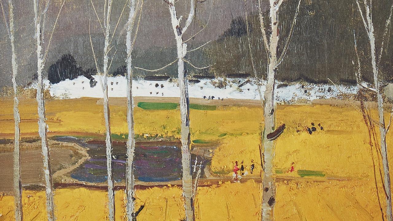 吴冠中系列版画 | 原野,以生趣盈然的笔画,描绘漫山遍野的油菜地,宛如一片金色的花海。