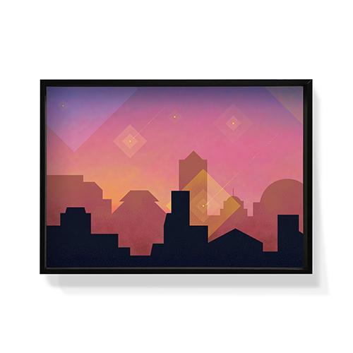 作画-城市系列图案3大号装饰效果图
