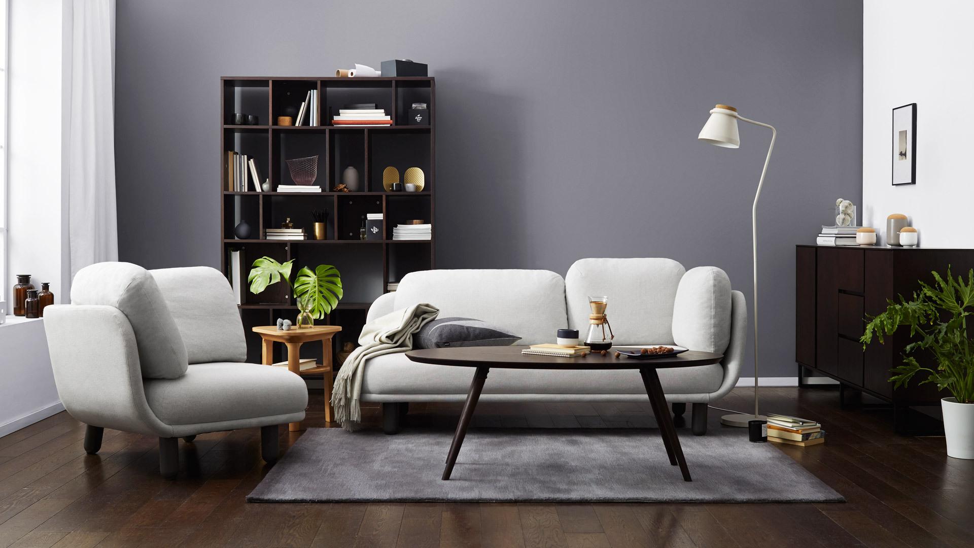 灰白格云团,客厅的优雅围合