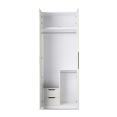 贡多拉两门衣柜B款+顶柜柜架效果图