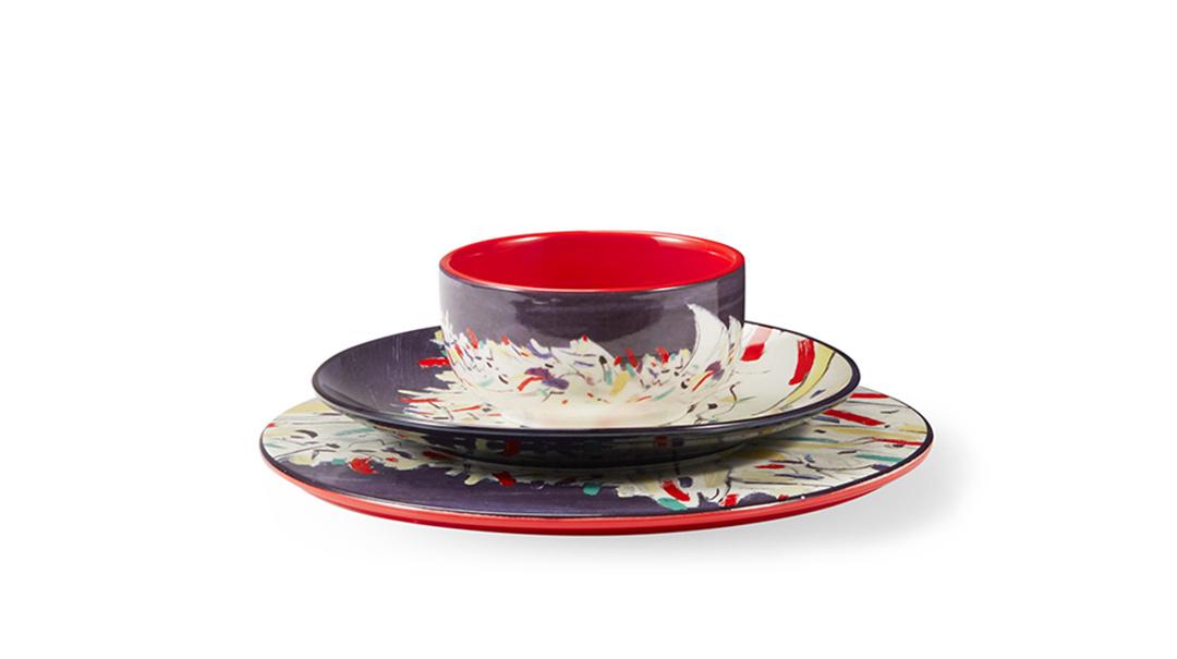 吴冠中艺术瓷餐具组-印尼舟群餐具