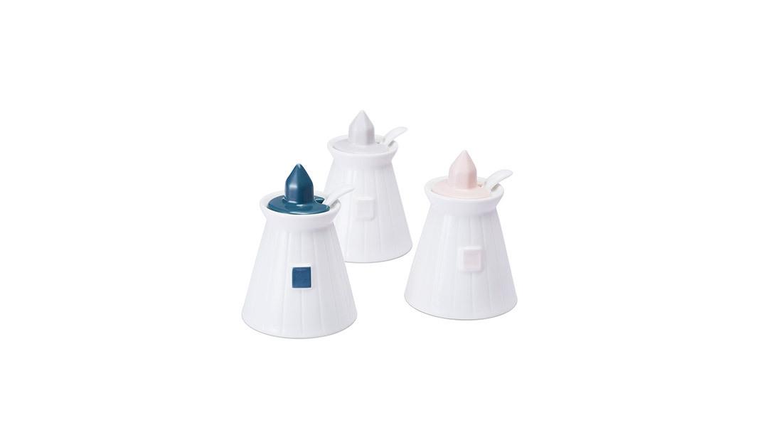 灯塔调料罐3件套3只套装(蓝/灰/粉各1个)餐具
