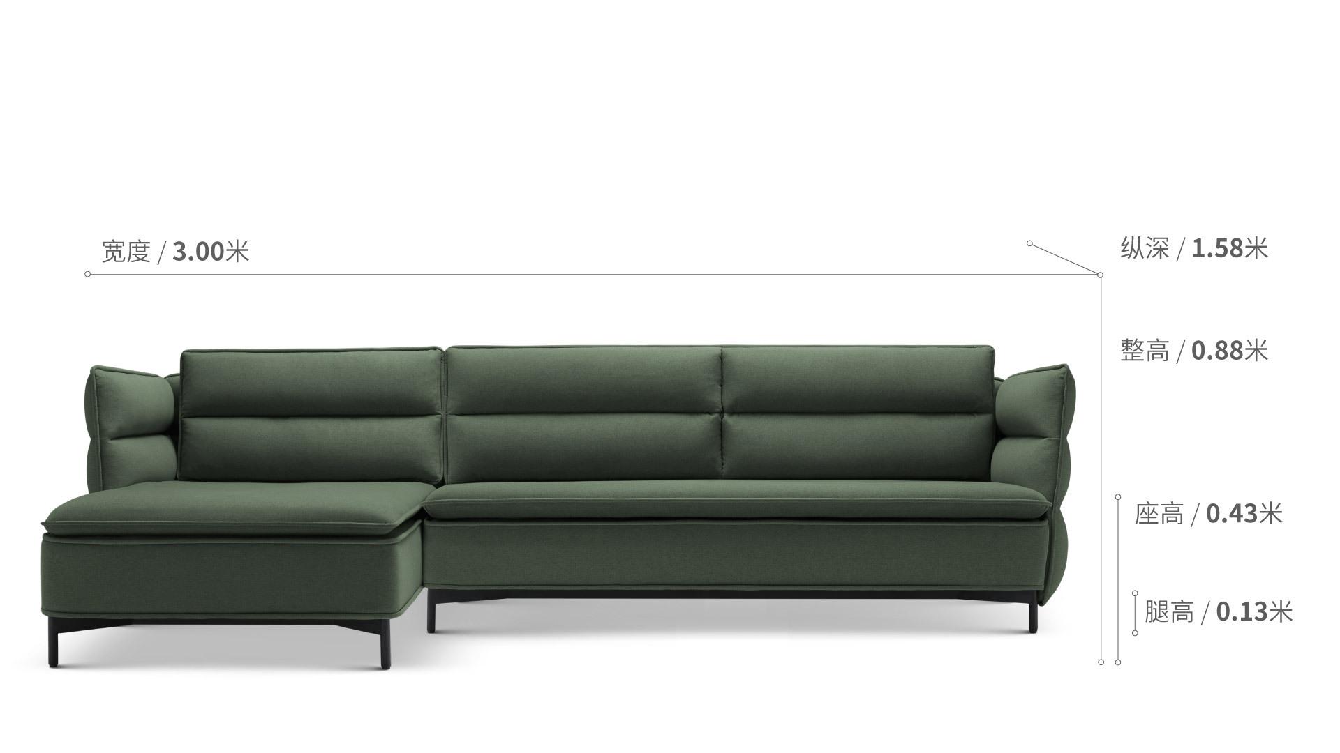 半月灣沙發矮背轉角三人座單扶手沙發效果圖