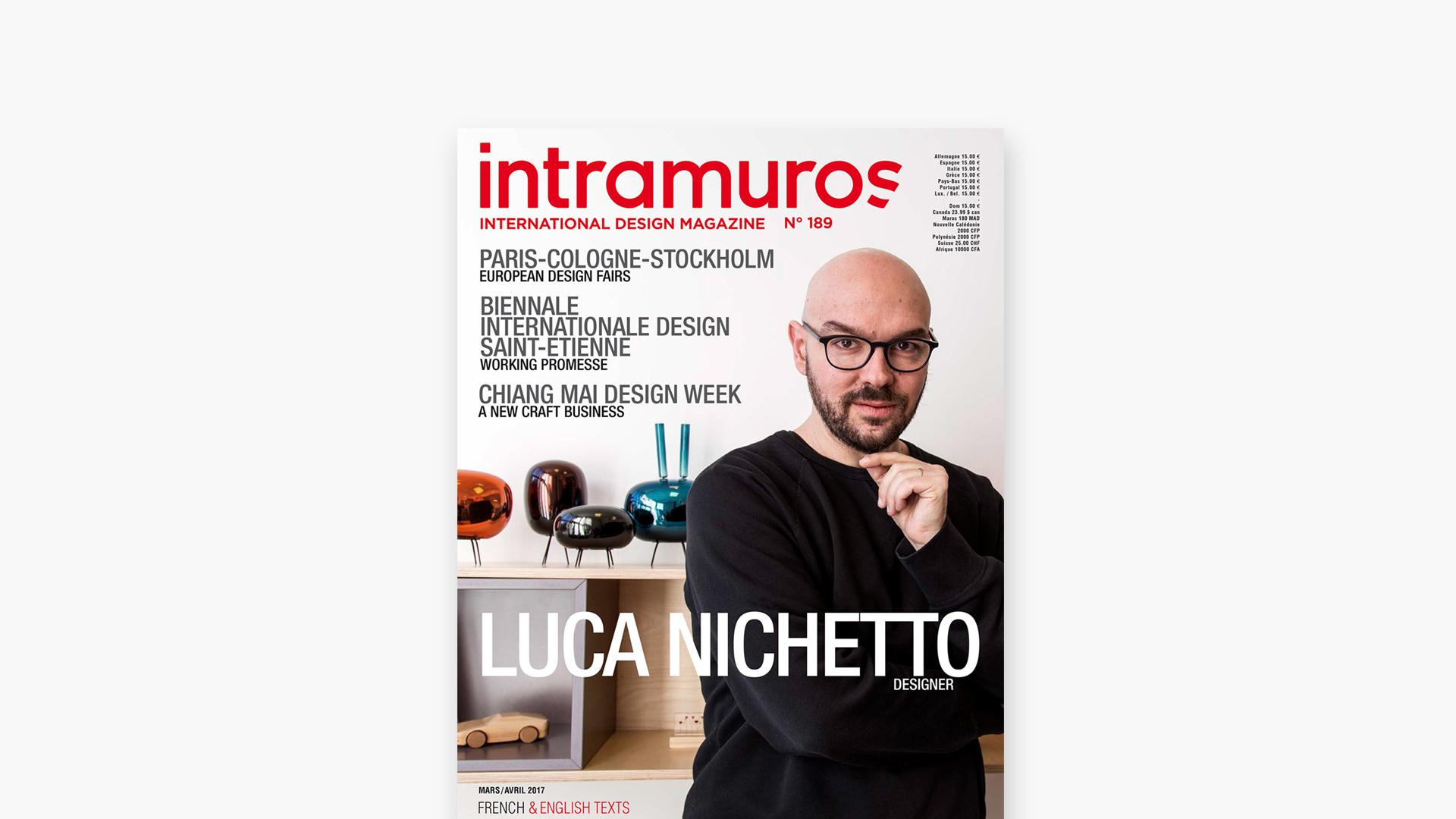 法国著名设计杂志《intramuros》在2017年4月刊专题报道造作艺术总监Luca Nichetto,盎然集线边桌、星云置物系等作品登上杂志内页?x-oss-process=image/format,jpg/interlace,1