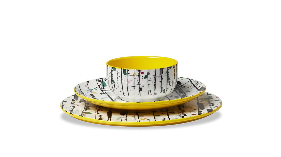 吴冠中艺术瓷餐具组-白桦林餐具