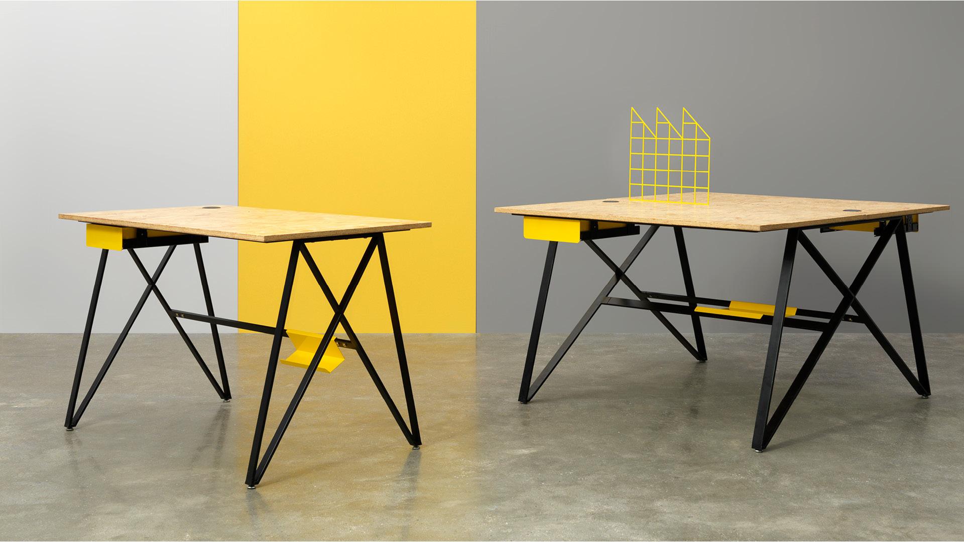灵动桌板与硬朗金属腿的巧妙构思,独特X型造型,撑起整个办公桌的工业摩登气质,单/双人人位和屏风组件的自由选购,创造你的极致工作间吧。