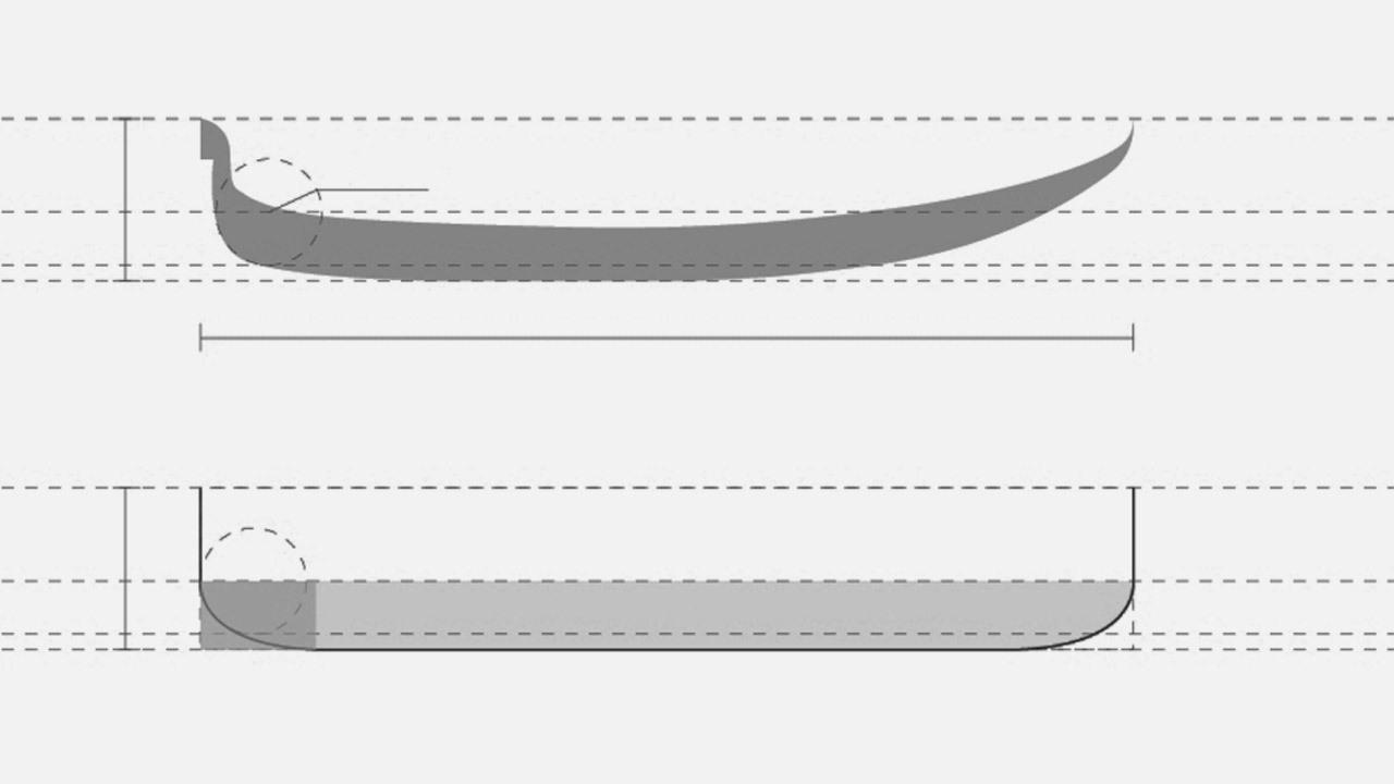▲ 穿行千年后,贡多拉小舟在材质与装饰细节上有了诸多更迭,但仍旧不变的,依然是尖翘舟头圆弧5:3长宽比