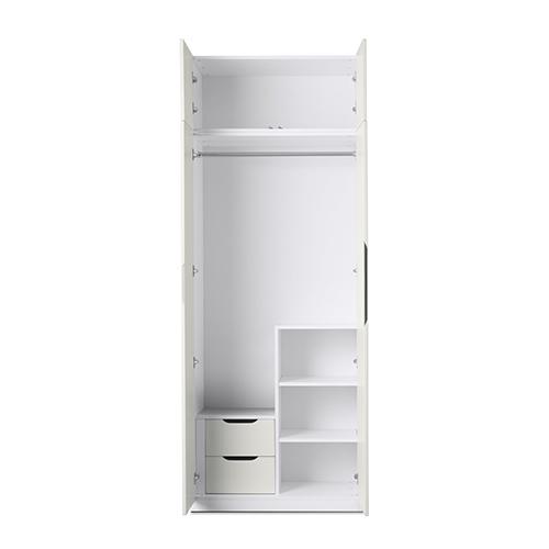 贡多拉两门衣柜A款+顶柜柜架效果图