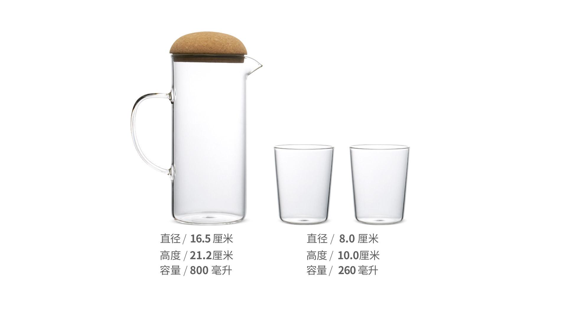 蘑菇高硼硅水壶套装餐具效果图