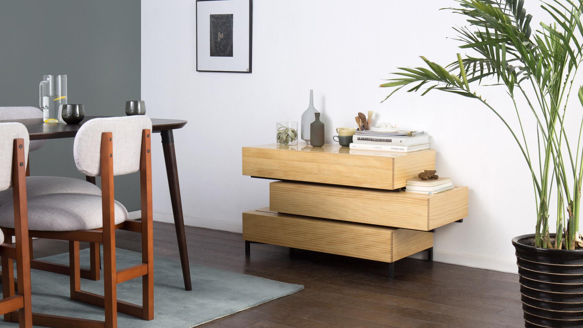 极简流动边柜,木质餐厅暖融融