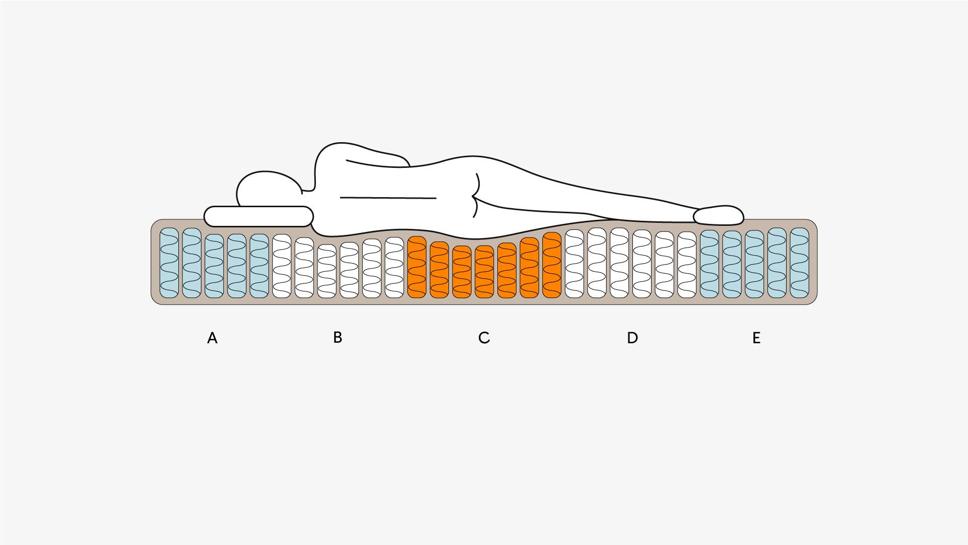 5区弹簧不同支撑<br/>维持头/肩/腰/臀/腿自然曲线