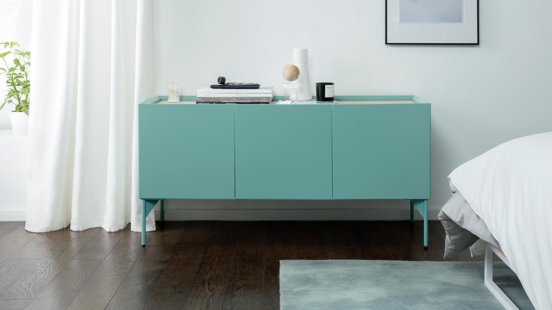 卧室边柜,纯净豆绿清爽降温