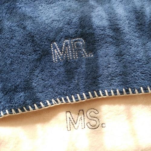 MS_Couple毛巾组MR.MS.面巾套装(粉蓝各1条)怎么样_2