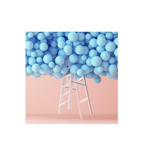 旅行家限量画芯 | Umberto Daina作品1号-水晶粉与静谧蓝1(装裱后)装饰效果图