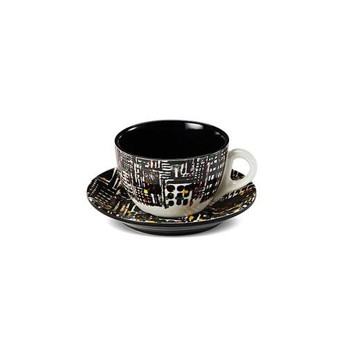 吴冠中系列纹样餐具-都市之夜咖啡杯套装餐具效果图