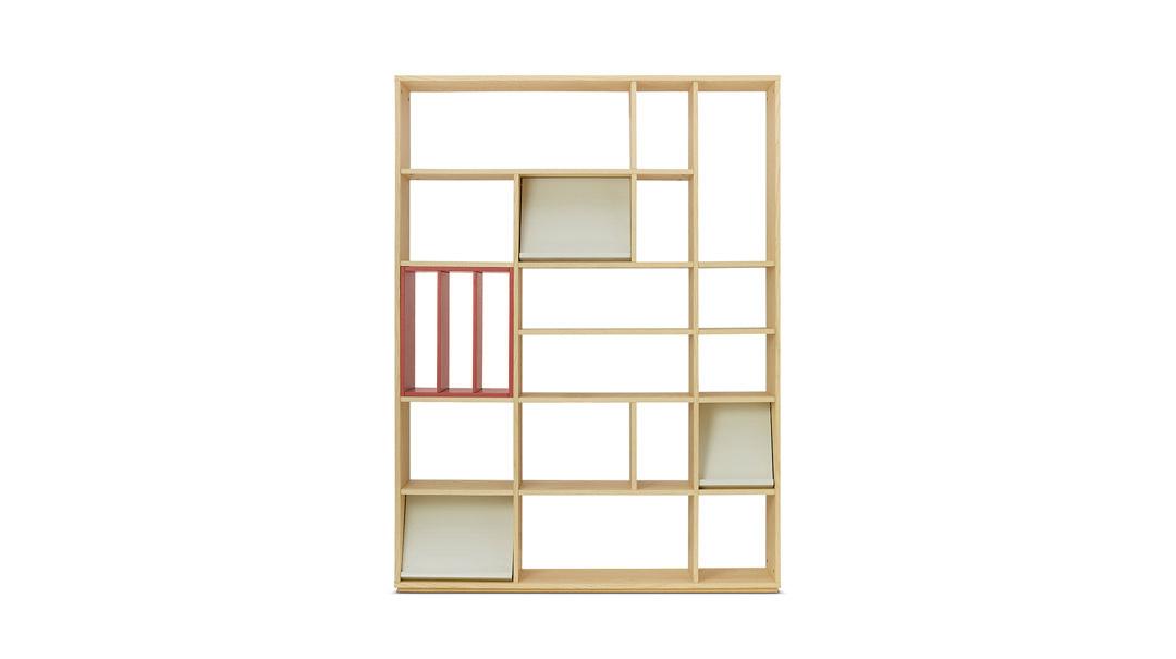 青山书架1.4米宽书架+层板盒柜架