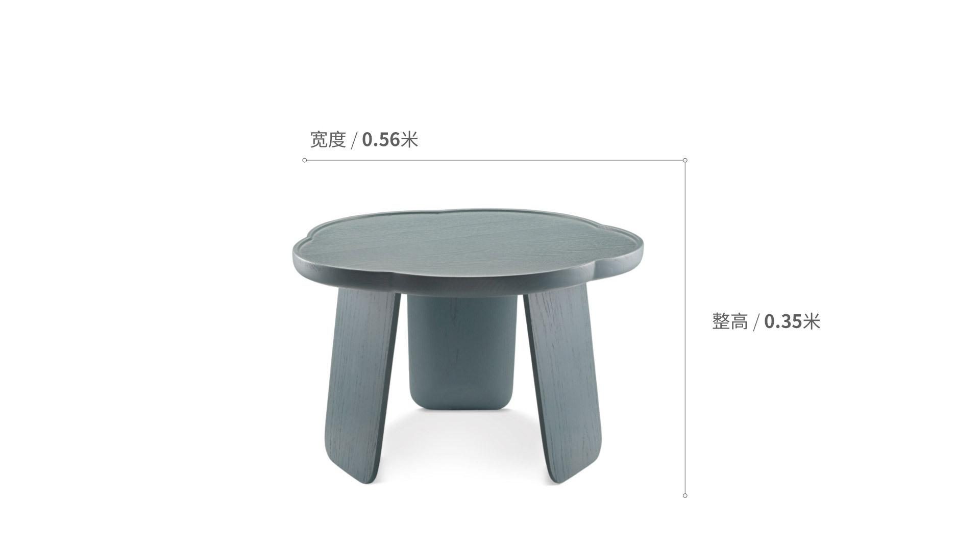 造作花间实木小桌™矮桌(五叶款)柜架效果图