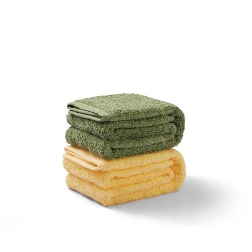 早安仿无捻纱毛巾组-面巾套装(黄绿各1条)
