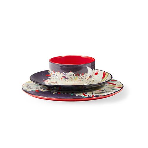 吴冠中艺术瓷餐具组-印尼舟群大尺寸碗碟套装餐具效果图