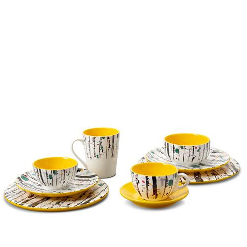 吴冠中艺术瓷餐具组-白桦林