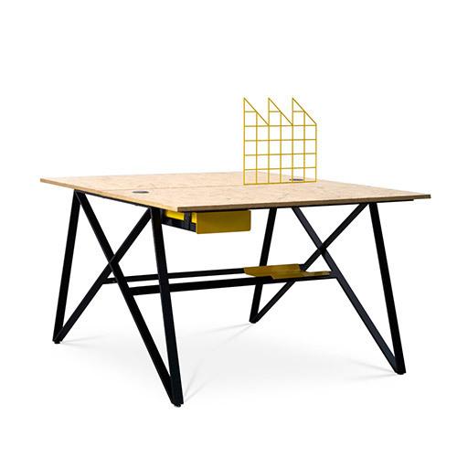 X Desk双人位(含屏风)桌几效果图