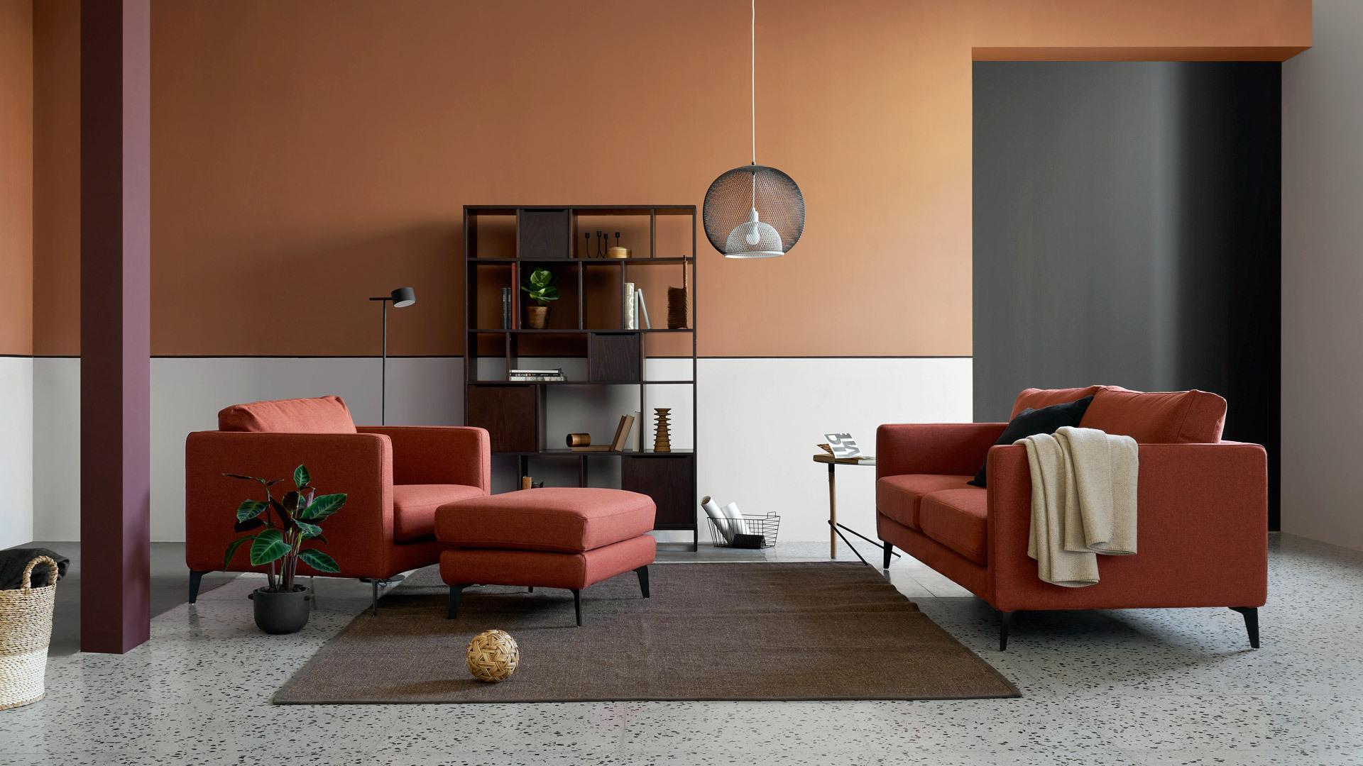 红棕格新色,让舒适客厅暖意融融
