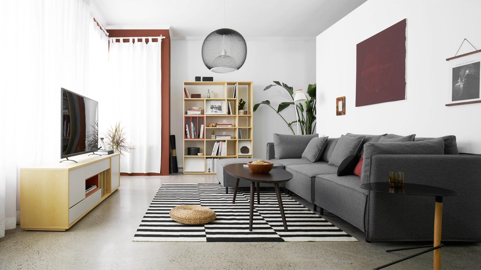 木色与高级灰,暖温留在客厅
