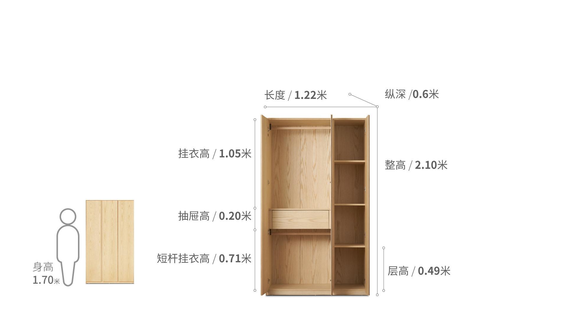 画板三门衣柜无顶柜柜架效果图