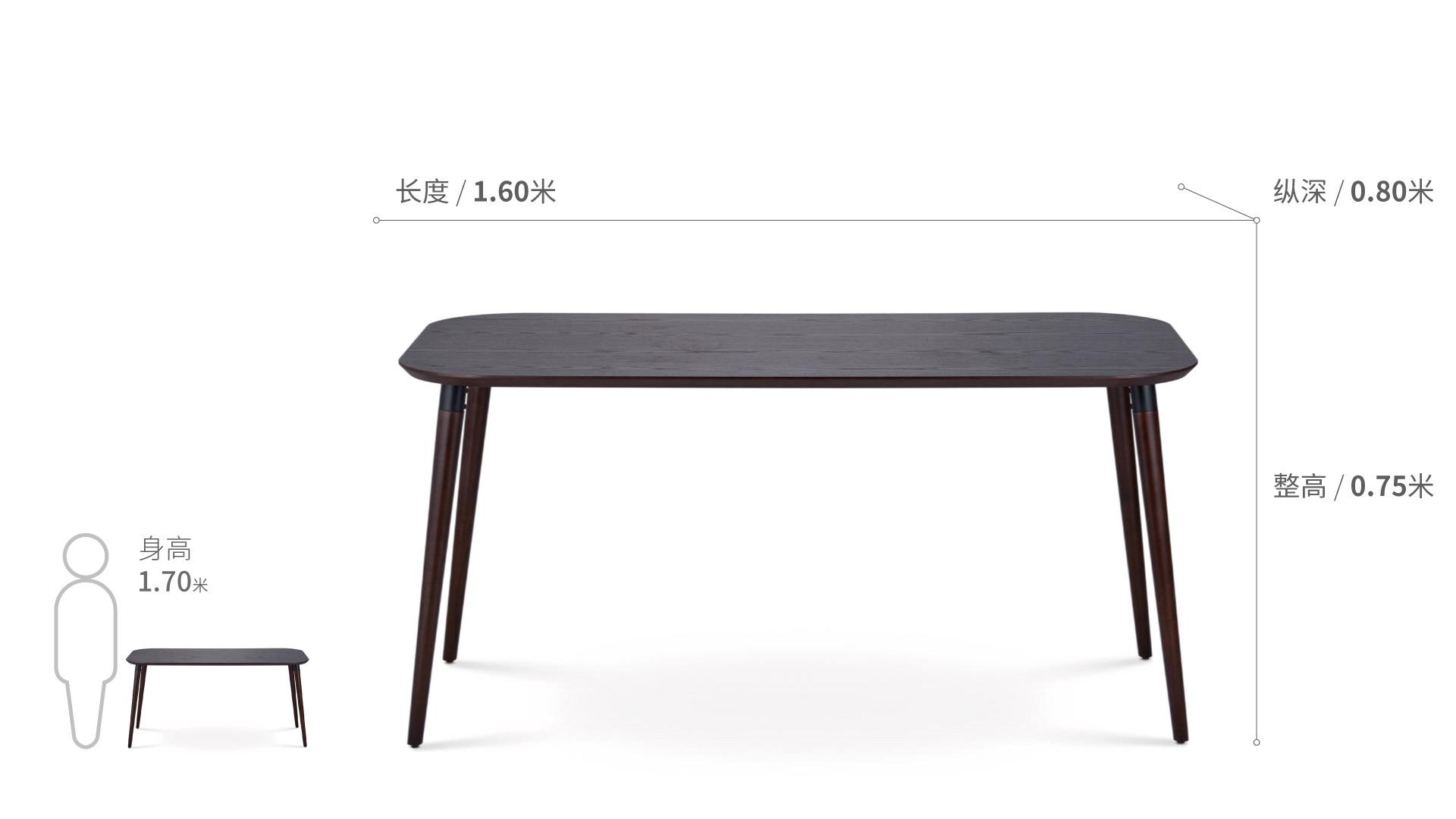 画板餐桌-长桌 1.6米桌几效果图