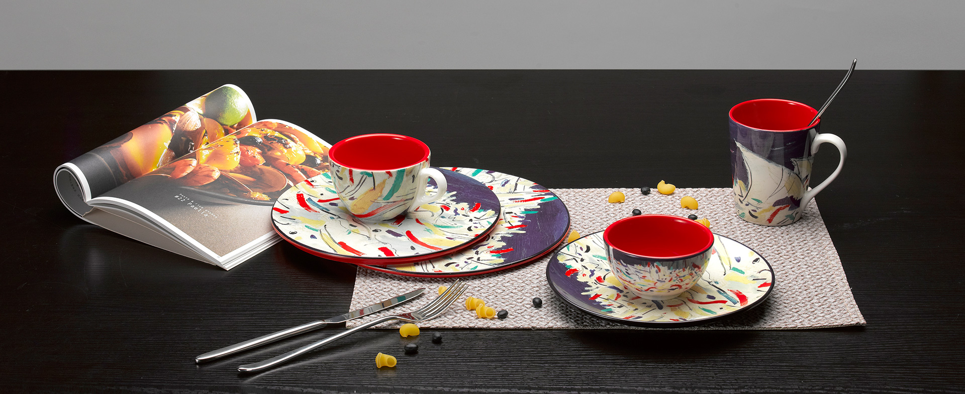 吴冠中系列纹样餐具|印尼舟群