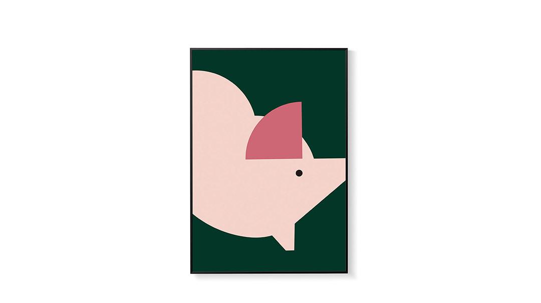 造画-猪猪系列2无画框装饰