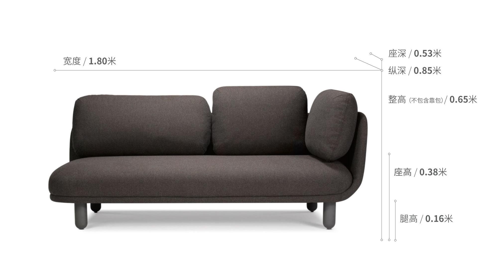 云团沙发升级版双人座右扶手沙发效果图