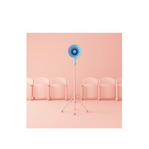 旅行家限量画芯 | Umberto Daina作品2号-水晶粉与静谧蓝2(装裱后)装饰效果图