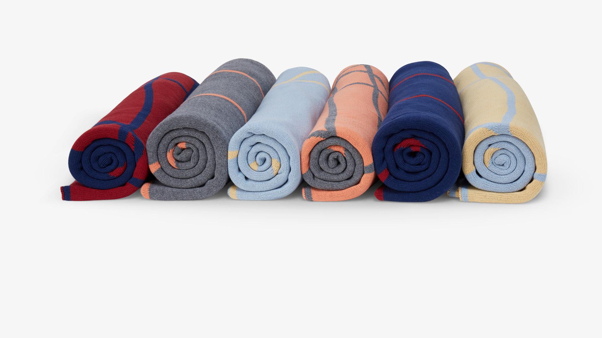 提花针织工艺,正反撞色,一毯两用