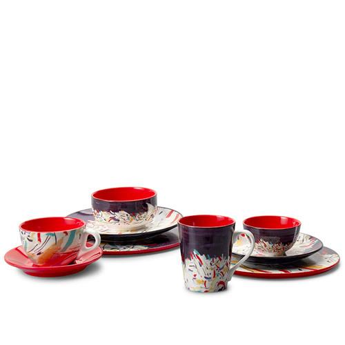 吴冠中艺术瓷餐具组-印尼舟群