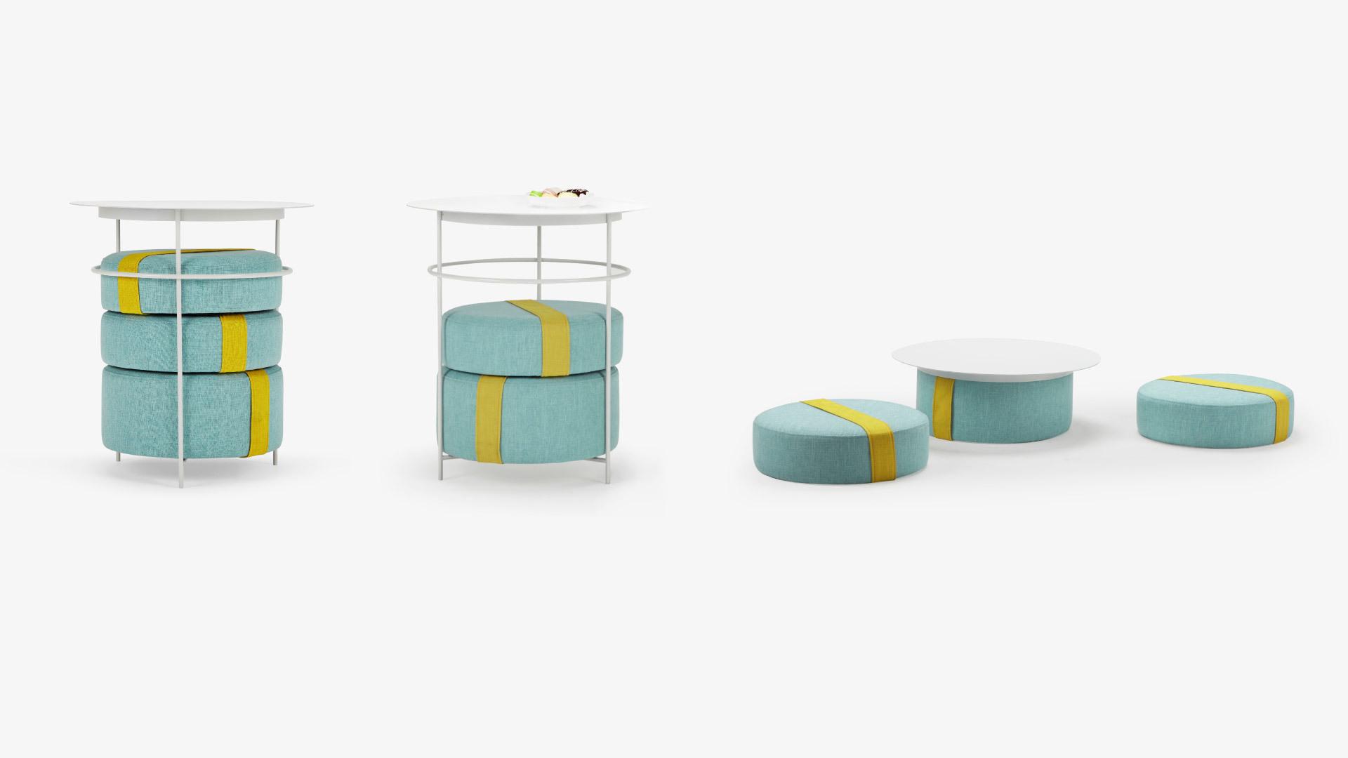 边几+坐垫+置物架,一物三用的可拆卸设计