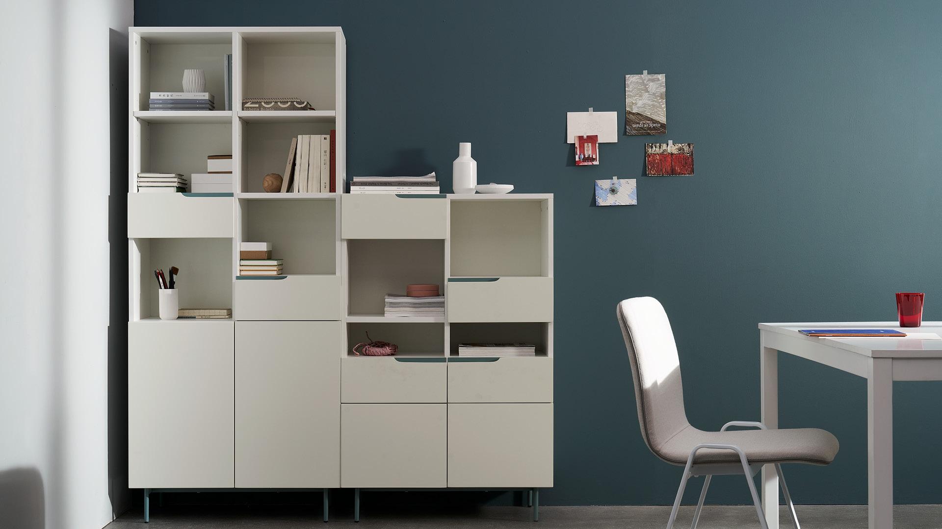 书架+边柜多层储物,翻倍书房功能