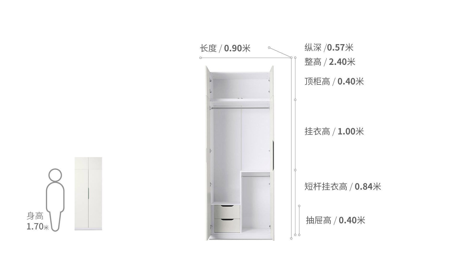 贡多拉衣柜®两门B款+顶柜柜架效果图