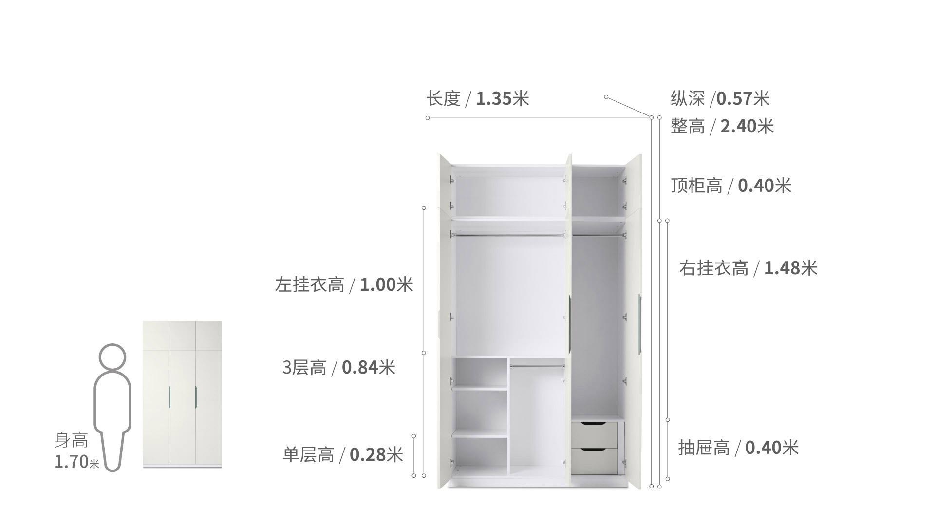 贡多拉三门衣柜B款+顶柜柜架效果图