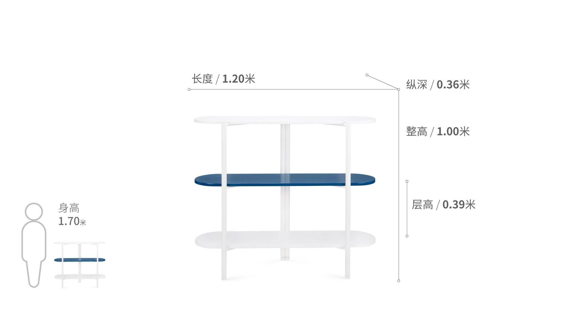 冲浪板置物架三层1.2米版柜架效果图