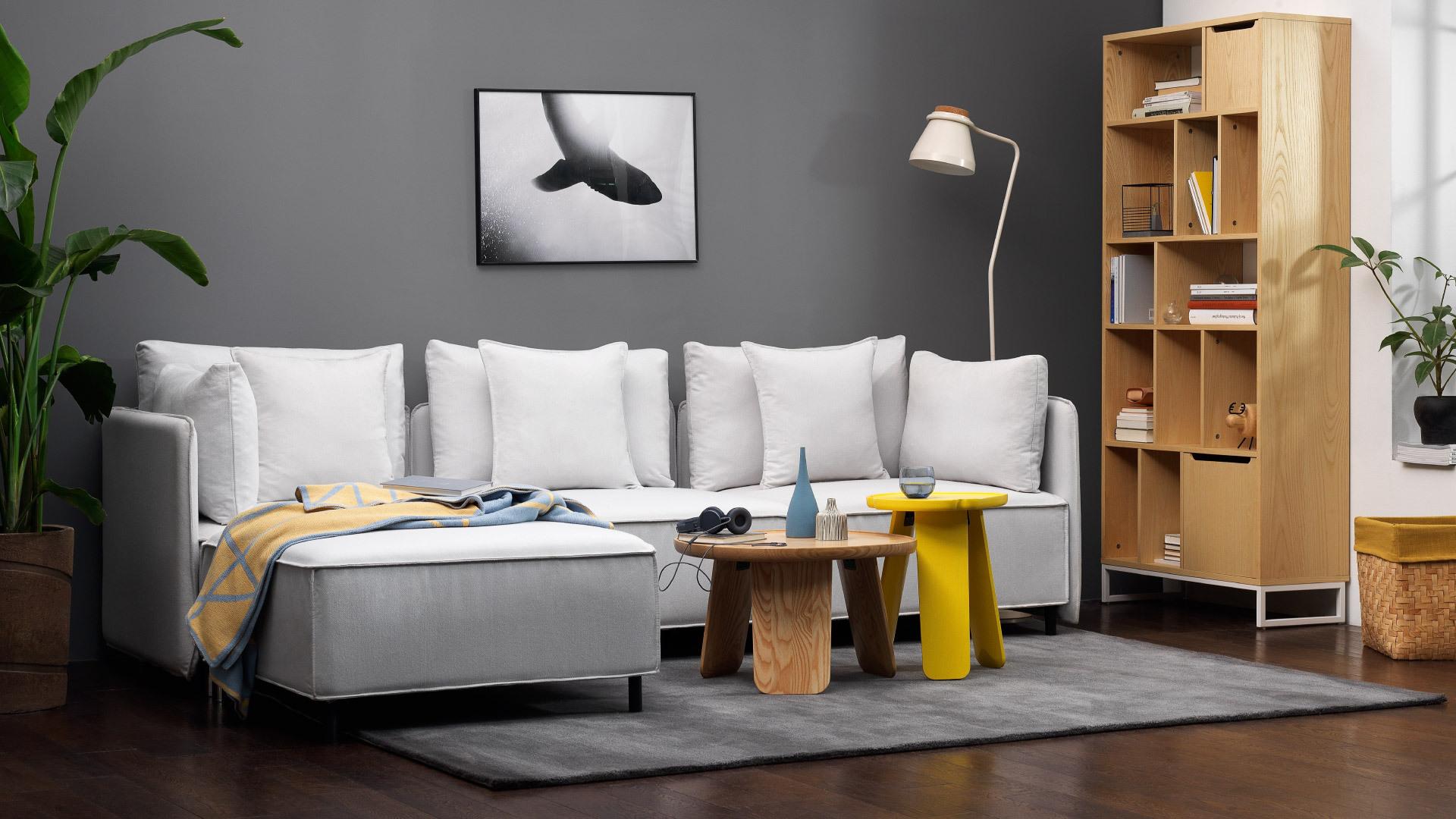经典版月灰色,柔美可触的现代起居