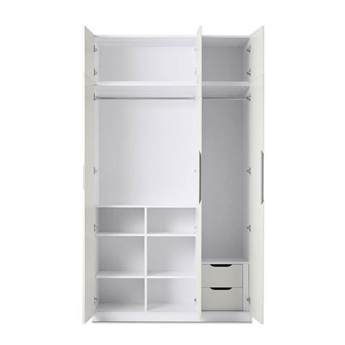 贡多拉三门衣柜A款+顶柜柜架效果图