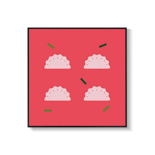 造画-猪猪系列1带画框装饰效果图